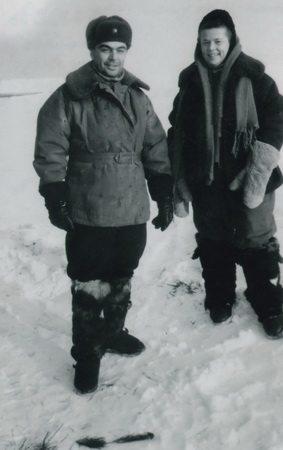 Тесловы перед вылетом на север области 1952 год