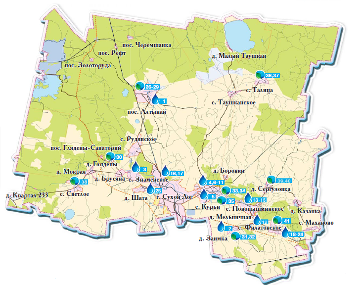 Карта родников Сухоложья