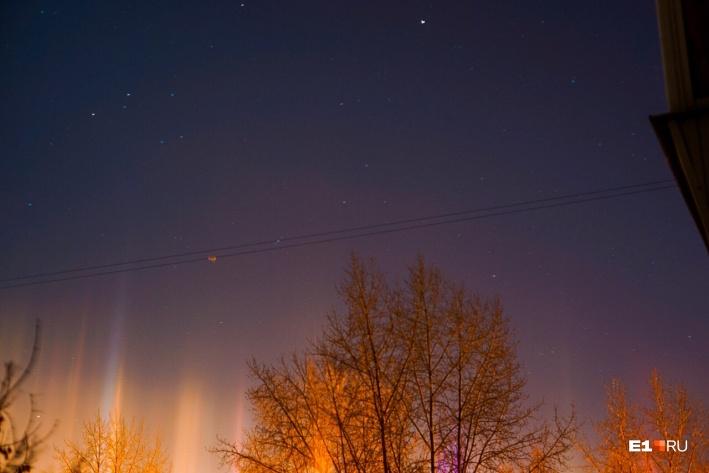 северное сияние, Екатеринбург, Свердловская область, свечение над Екатеринбургом, необычные природные явления