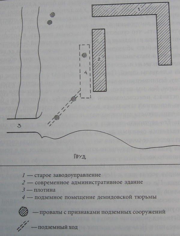 Схема расположения старинных подземных сооружений в зоне старого центра г. Нижнего Тагила. Фото из книги В.М.Слукина «Тайны уральских подземелий»