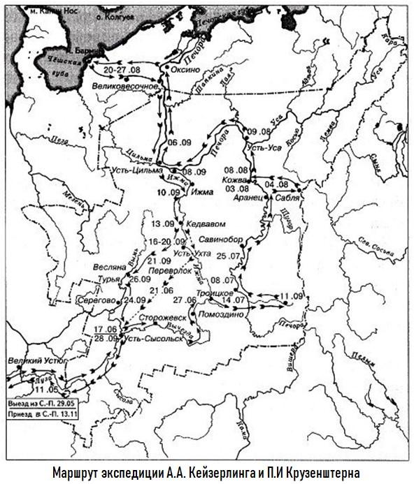 Маршрут экспедиции Кейзерлинга и Крузенштерна