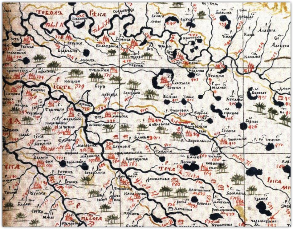 Зауралье на карте Семена Ремезова, 1701 год