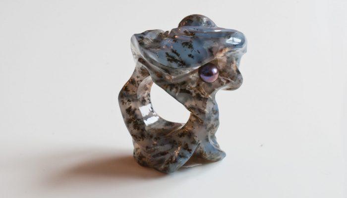Тайна морских глубин кольцо(моховой агат, жемчуг.Богомазов)