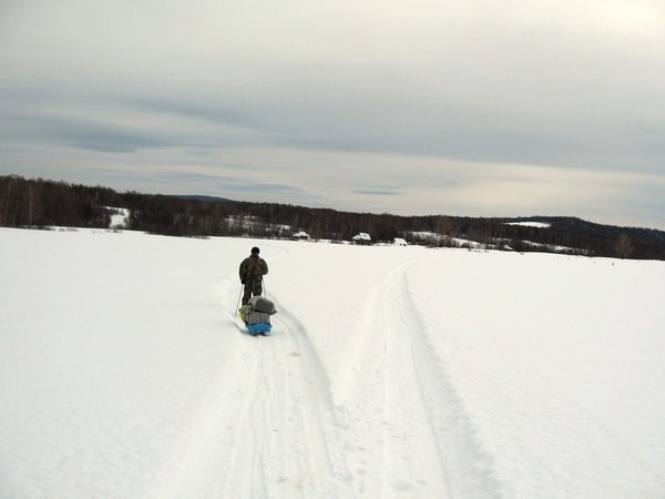 Лыжи катятся легко по утоптанной тропе