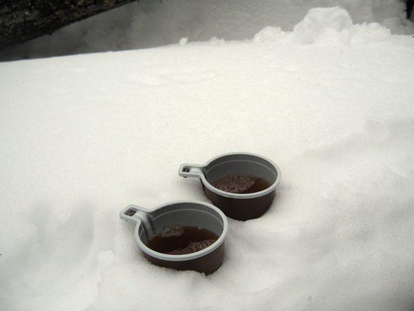 Горячий чай. Температуру регулировали, посыпая снег в кружку