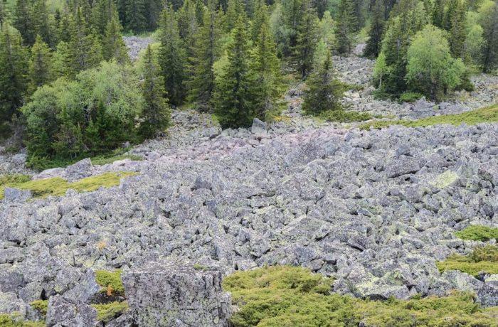 Каменный Форсос, обломки розовых скал - виден переход розового
