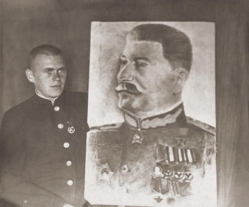А.Нидерер занимался оформлением клуба в лагере Бакарюка, рисовал портрет Сталина