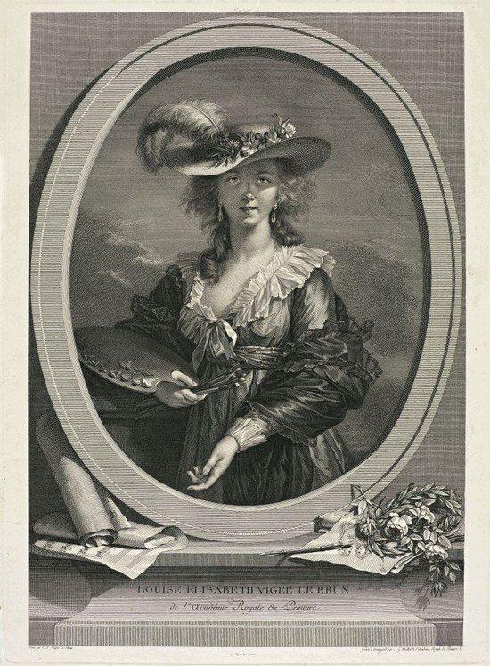 Одна из гравюр на выставке — «Автопортрет Луизы Элизабет Виже-Лебрен»