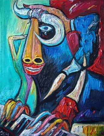 Живопись философская — «Автопортрет в образе быка». Быка, между прочим, весьма печального.