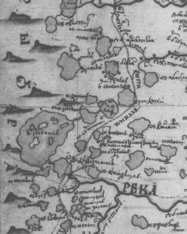 Фрагмент «Ландкарты рекам Исети, Течи, Синаре, Миясу…», составленной в 1735 году и пополнявшейся геодезистом Иваном Шишковым в марте-апреле 1736 года. Показан «Тракт капитана Житкова» и место, где «Была баталия у капитана Житкова»