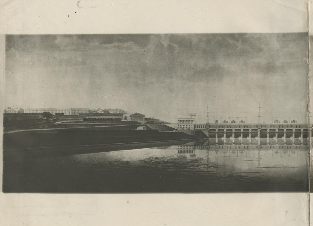 Панорама плотины Камской ГЭС. Проект 1930-х гг. Фото: ПермГАСПИ