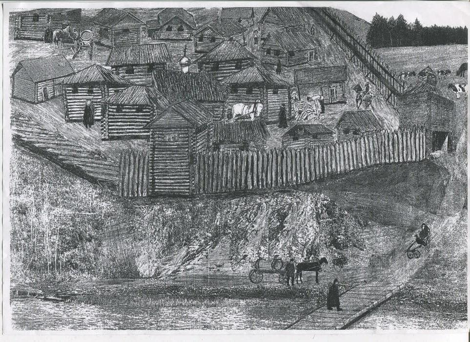 Камышевская слобода, вид со стороны речки Камышловки. Рисунок Игоря Балыбердина