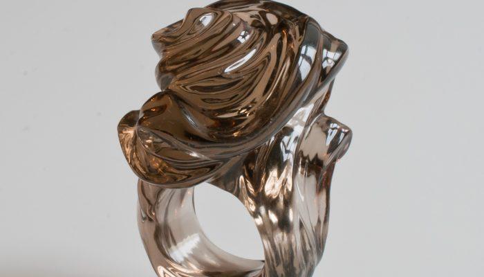 кольцо Водоворот(дымчатый кварц.Богомазов)