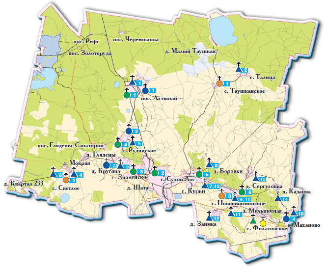 Карта храмов Сухоложья