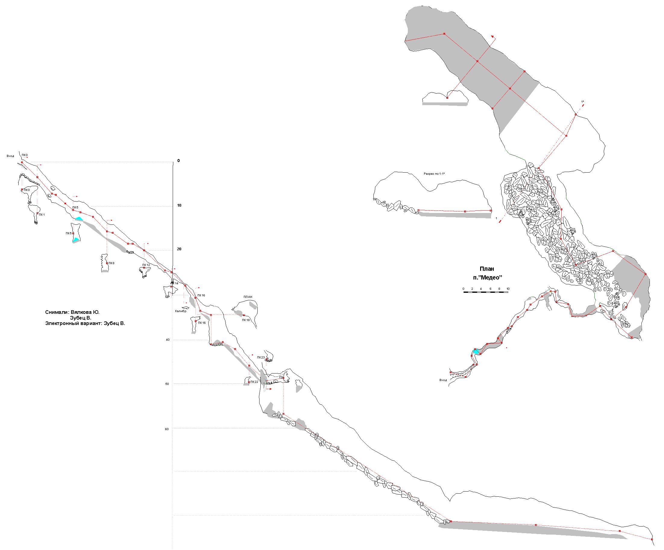 План пещеры Медео, Пермский край