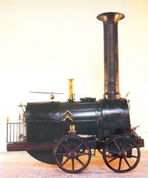Модель паровоза Черепановых, хранящаяся в музее железнодорожного транспорта в Санкт-Петербурге