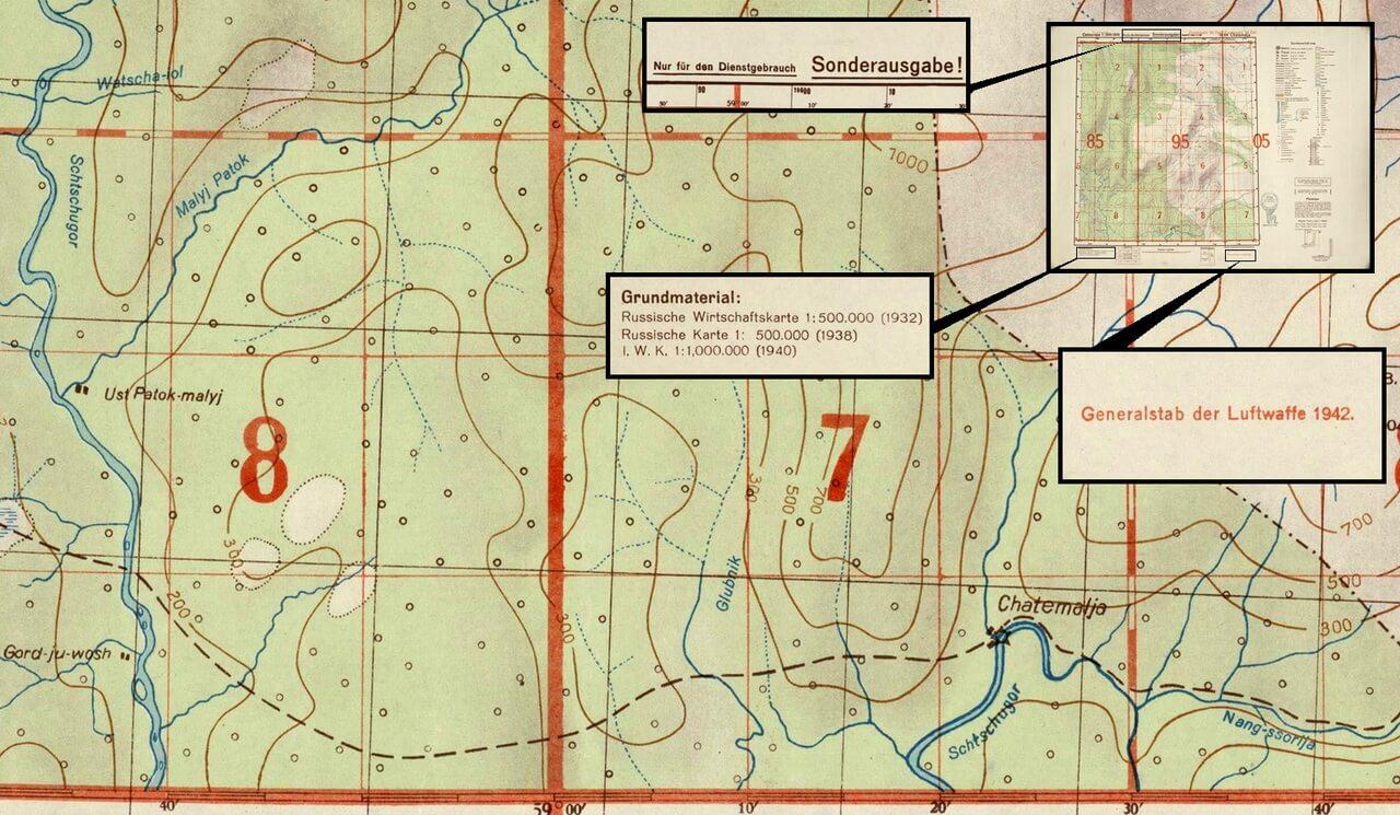 Фрагмент карты Люфтваффе 1942 года