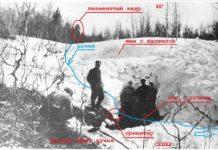 Рисунок 4 Часть сугроба с двумя ямами и кедром на заднем плане